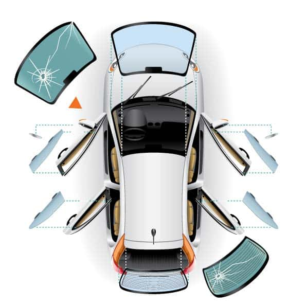 Overhead exploded view of Car showing windows with chips and cracks | Dominion Auto Glass